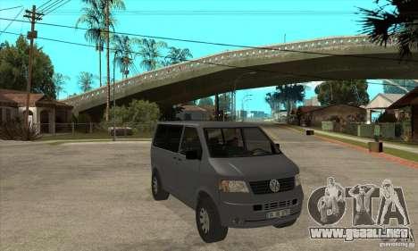 Volkswagen Transporter T5 TDI para GTA San Andreas vista hacia atrás