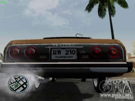 Nissan Skyline 2000GT C210 para GTA San Andreas vista hacia atrás