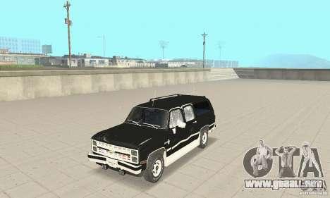 Chevrolet Suburban FBI 1986 para vista lateral GTA San Andreas