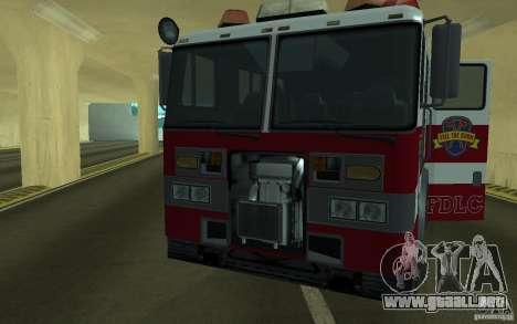 FIRETRUCK para GTA San Andreas vista hacia atrás