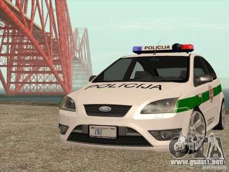Ford Focus ST Policija para GTA San Andreas vista hacia atrás