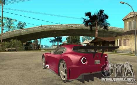 Alfa Romeo 8C GT3 RSX para GTA San Andreas vista posterior izquierda