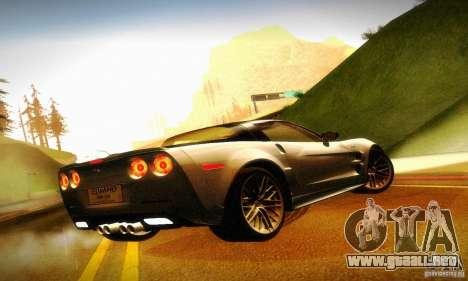 Chevrolet Corvette ZR-1 para GTA San Andreas vista hacia atrás