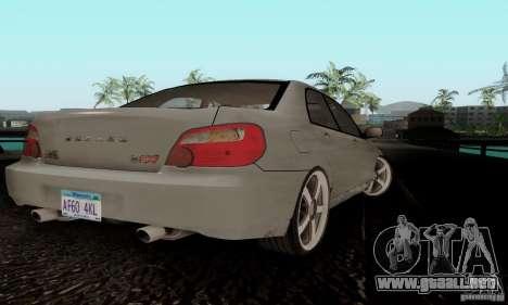 Subaru Impreza WRX STi TUNEABLE para GTA San Andreas vista posterior izquierda