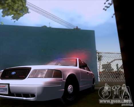 Ford Crown Victoria 2009 Detective para GTA San Andreas vista hacia atrás