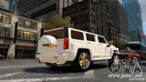 Hummer H3 2005 Gold Final para GTA 4 Vista posterior izquierda