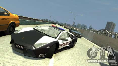 Lamborghini Reventon Police Hot Pursuit para GTA 4 vista hacia atrás