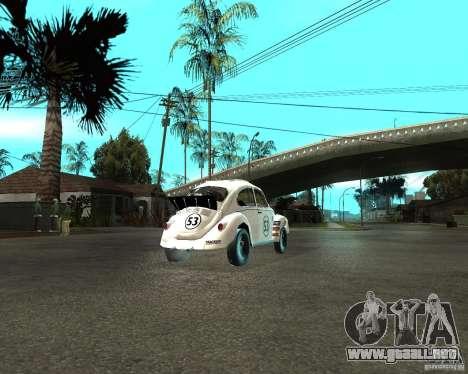 Volkswagen Beetle Herby para GTA San Andreas vista posterior izquierda