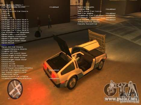 De Lorean DMC 12 para GTA 4 vista interior