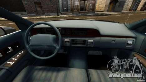 Chevrolet Caprice 1991 LCC Taxi para GTA 4 vista hacia atrás