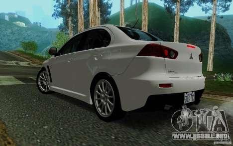 Mitsubishi Lancer Evolution X Tunable para GTA San Andreas left