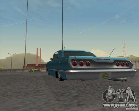 Chevrolet Impala 1963 lowrider para GTA San Andreas vista hacia atrás