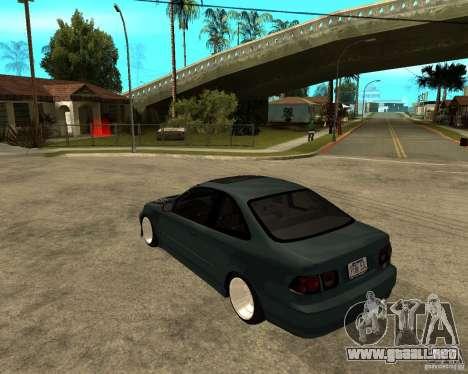Honda Civic Coupe V-Tech para GTA San Andreas vista posterior izquierda