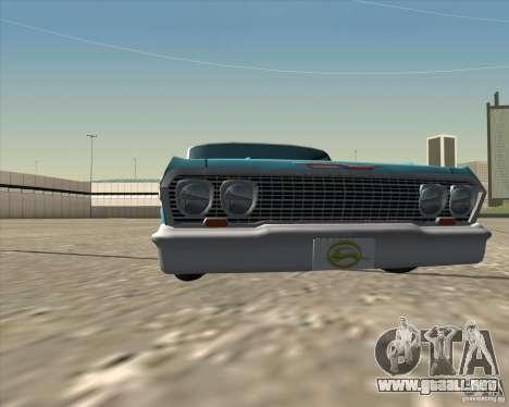 Chevrolet Impala 1963 lowrider para visión interna GTA San Andreas