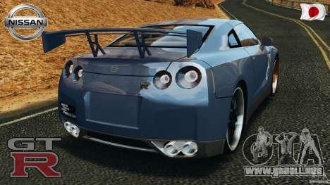 Nissan GT-R 35 rEACT v1.0 para GTA 4 Vista posterior izquierda