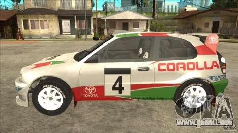 Toyota Corolla 1999 Rally Champion para la visión correcta GTA San Andreas
