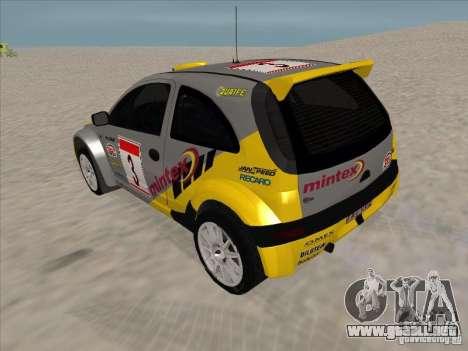 Opel Rally Car para GTA San Andreas vista posterior izquierda