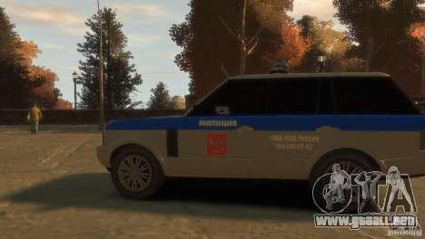Land Rover Range Rover Police para GTA 4 vista hacia atrás
