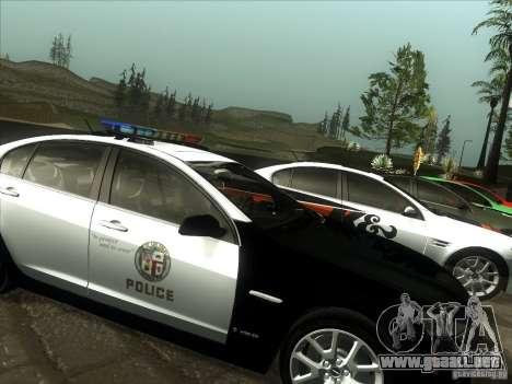Pontiac G8 Police para GTA San Andreas vista posterior izquierda