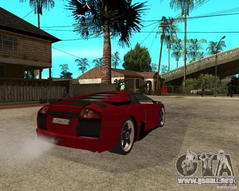 Lamborghini Murcielago SHARK TUNING para GTA San Andreas vista posterior izquierda