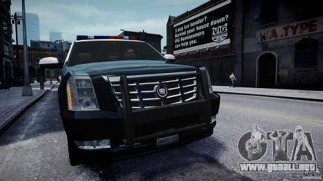 Cadillac Escalade Police V2.0 Final para GTA 4 visión correcta