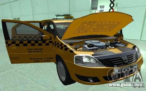 Dacia Logan Taxi Bucegi para GTA San Andreas vista hacia atrás