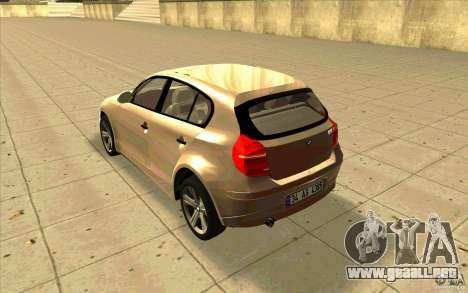 BMW 118i para GTA San Andreas vista posterior izquierda