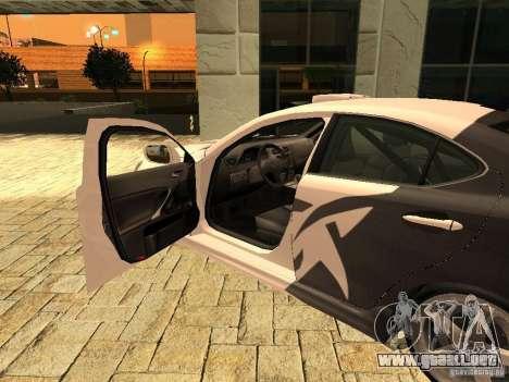 Lexus IS 350 para GTA San Andreas vista posterior izquierda