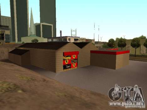 El garaje de Ferrari en Dorothy para GTA San Andreas quinta pantalla