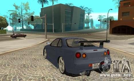 Nissan Skyline R-34 GTR para la visión correcta GTA San Andreas