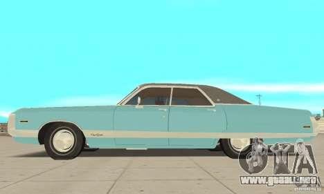 Chrysler New Yorker 4 Door Hardtop 1971 para GTA San Andreas vista posterior izquierda