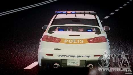 Mitsubishi Evolution X Police Car [ELS] para GTA motor 4