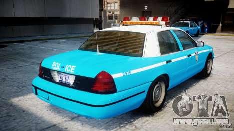 Ford Crown Victoria Classic Blue NYPD Scheme para GTA 4 visión correcta