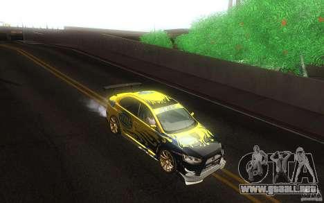 Mitsubishi Lancer Evolution X Gymkhana para visión interna GTA San Andreas