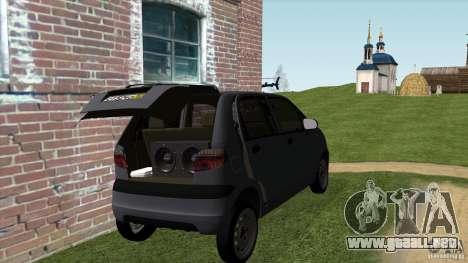 Daewoo Matiz para GTA San Andreas vista posterior izquierda