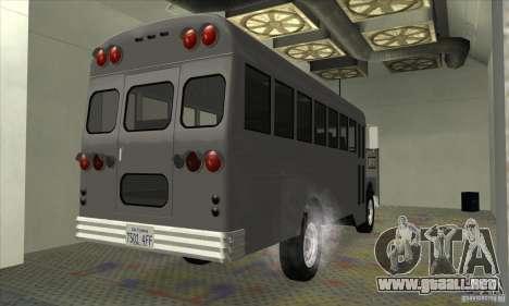Civil Bus para GTA San Andreas vista posterior izquierda
