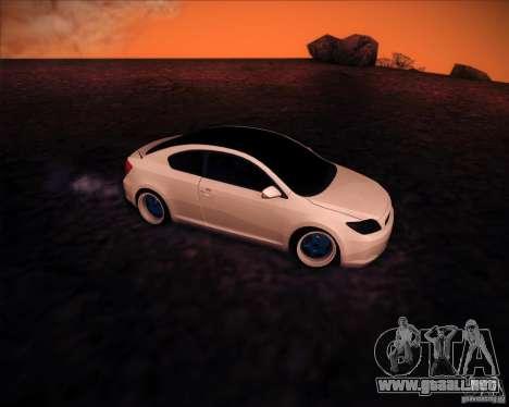 Scion tC Blue Meisters para GTA San Andreas vista hacia atrás
