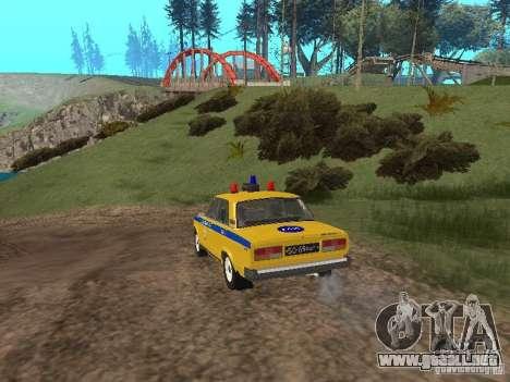VAZ 2107 AUTO INSPECCIÓN para GTA San Andreas vista posterior izquierda