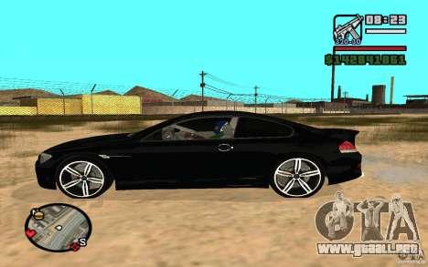 BMW M6 2006 para GTA San Andreas vista posterior izquierda