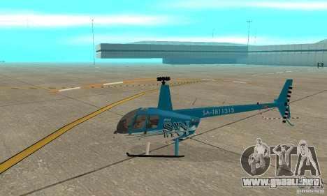 Robinson R44 Raven II NC 1.0 TV para GTA San Andreas vista posterior izquierda