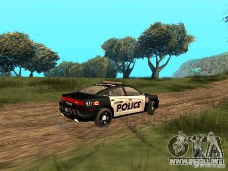 Dodge Charger Canadian Victoria Police 2011 para GTA San Andreas vista hacia atrás