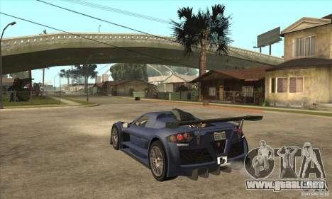 Gumpert Apollo Sport para GTA San Andreas vista posterior izquierda
