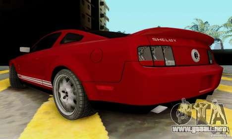 Ford Shelby GT500 para GTA San Andreas vista posterior izquierda
