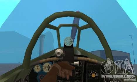 Yak-9 durante la II Guerra Mundial para GTA San Andreas vista hacia atrás