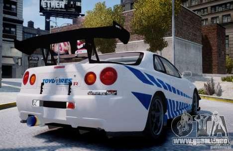 Nissan Skyline GT-R R34 2F2F para GTA 4 Vista posterior izquierda