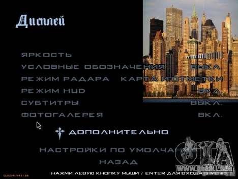 Nuevo menú al estilo de Nueva York para GTA San Andreas quinta pantalla