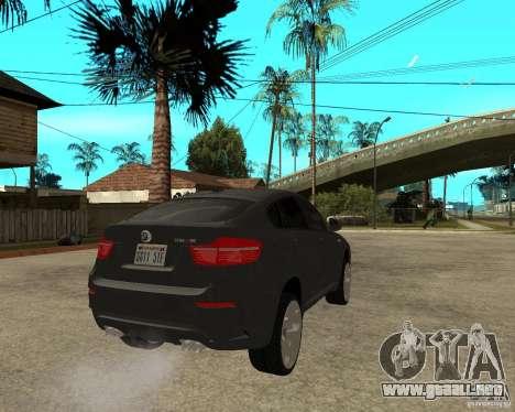 BMW X6 M para GTA San Andreas vista posterior izquierda