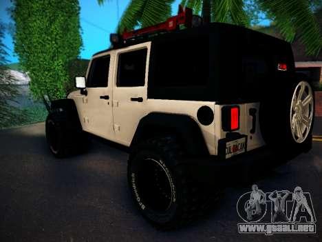 Jeep Wrangler 4x4 para GTA San Andreas vista posterior izquierda