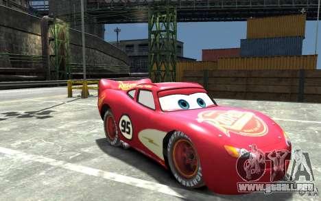 Lighting McQueen para GTA 4 vista hacia atrás