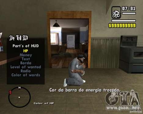 Change Hud Colors para GTA San Andreas tercera pantalla